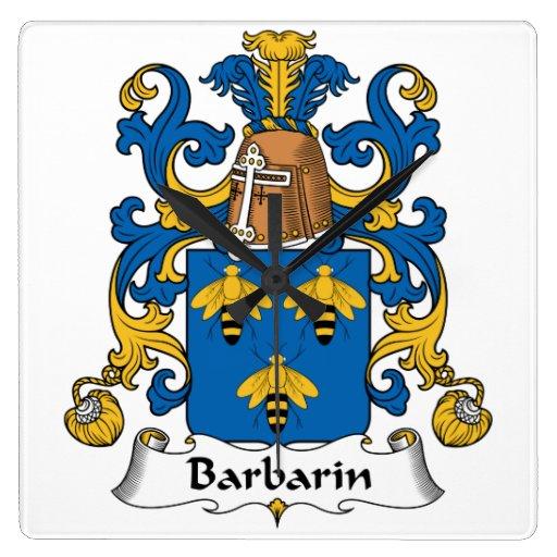 Escudo de la familia de Barbarin Reloj Cuadrado