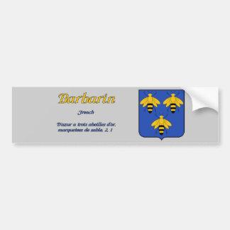 Escudo de la familia de Barbarin y pegatina de la  Pegatina De Parachoque