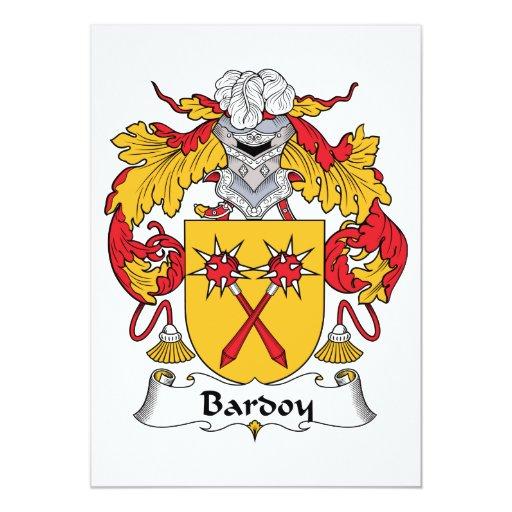 """Escudo de la familia de Bardoy Invitación 5"""" X 7"""""""