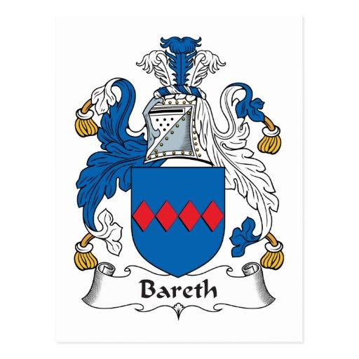 Escudo de la familia de Bareth Tarjetas Postales