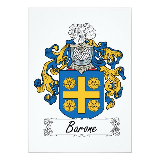 """Escudo de la familia de Barone Invitación 5"""" X 7"""""""