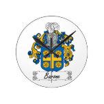 Escudo de la familia de Barone Reloj De Pared