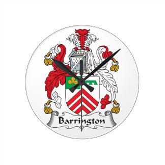 Escudo de la familia de Barrington Reloj Redondo Mediano