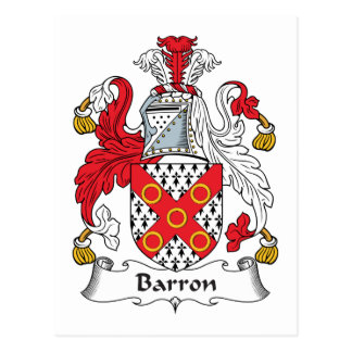 Escudo de la familia de Barron Tarjeta Postal