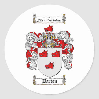 ESCUDO DE LA FAMILIA DE BARTON - ESCUDO DE ARMAS PEGATINA REDONDA