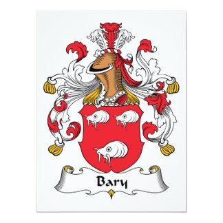 """Escudo de la familia de Bary Invitación 6.5"""" X 8.75"""""""