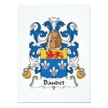 Escudo de la familia de Baudet Invitación 16,5 X 22,2 Cm
