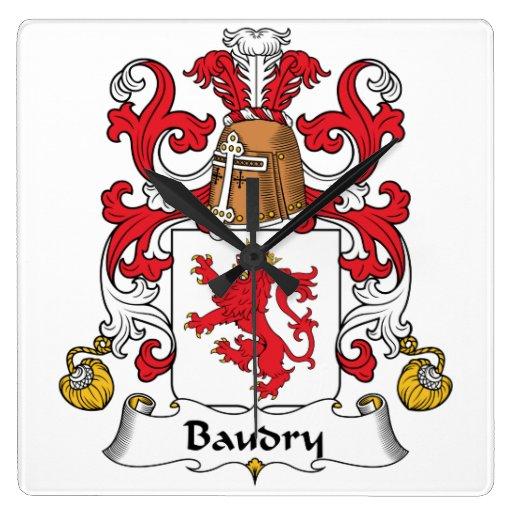 Escudo de la familia de Baudry Reloj De Pared
