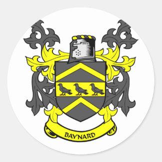 Escudo de la familia de BAYNARD Pegatina Redonda