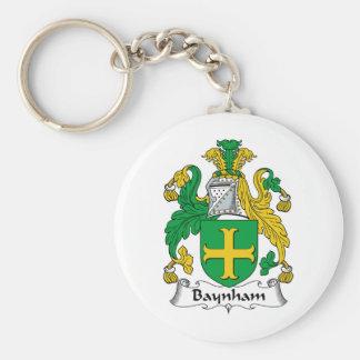 Escudo de la familia de Baynham Llavero Redondo Tipo Pin