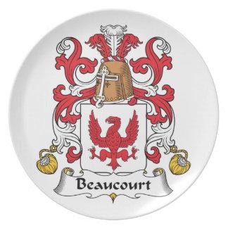 Escudo de la familia de Beaucourt Plato Para Fiesta