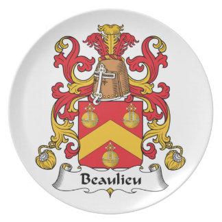 Escudo de la familia de Beaulieu Plato De Comida