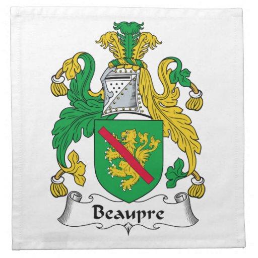 Escudo de la familia de Beaupre Servilletas Imprimidas