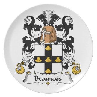 Escudo de la familia de Beauvais Plato De Comida