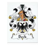 Escudo de la familia de Beck Invitación 16,5 X 22,2 Cm