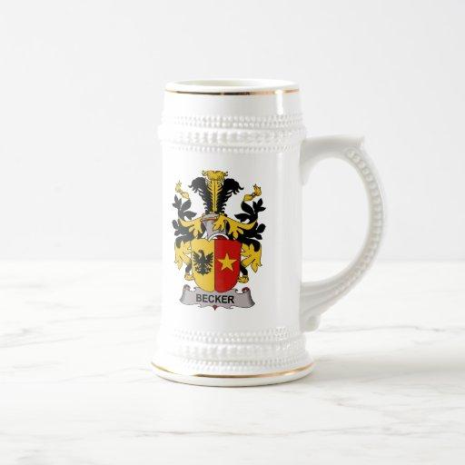 Escudo de la familia de Becker Tazas De Café