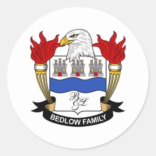Escudo de la familia de Bedlow Etiquetas Redondas