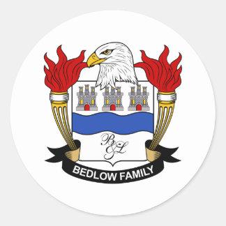 Escudo de la familia de Bedlow Pegatina Redonda