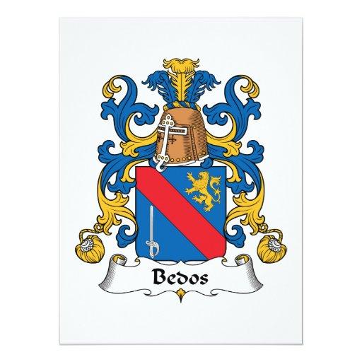 """Escudo de la familia de Bedos Invitación 6.5"""" X 8.75"""""""