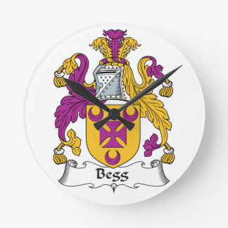 Escudo de la familia de Begg Reloj De Pared