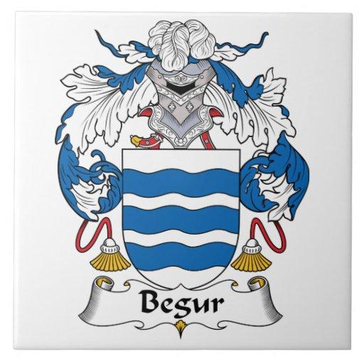 Escudo de la familia de Begur Azulejo Cuadrado Grande