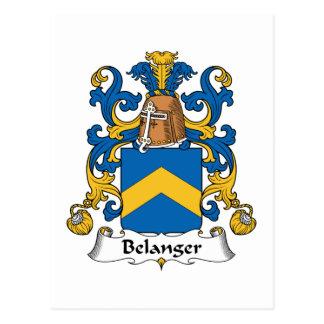 Escudo de la familia de Belanger Tarjeta Postal