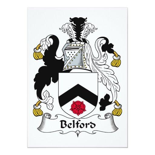 Escudo de la familia de Belford Invitación 12,7 X 17,8 Cm