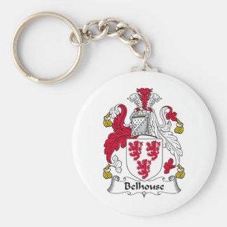 Escudo de la familia de Belhouse Llavero Redondo Tipo Pin