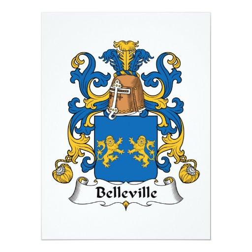 Escudo de la familia de Belleville Invitación 16,5 X 22,2 Cm
