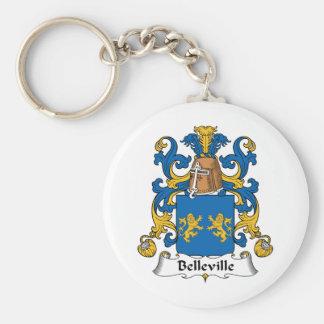 Escudo de la familia de Belleville Llavero Redondo Tipo Pin