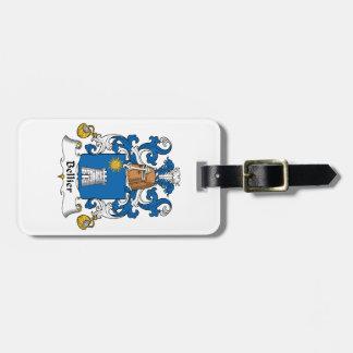 Escudo de la familia de Bellier Etiquetas De Maletas