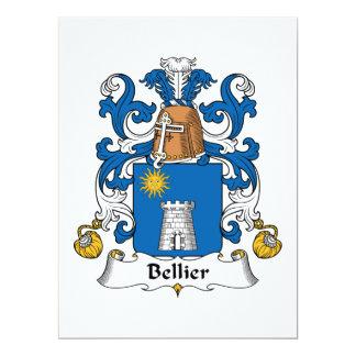 Escudo de la familia de Bellier Invitación 16,5 X 22,2 Cm