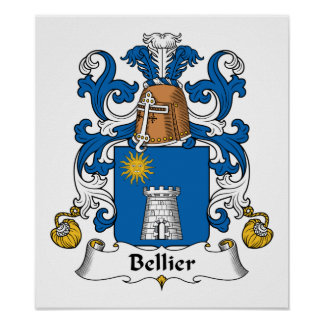 Escudo de la familia de Bellier Posters