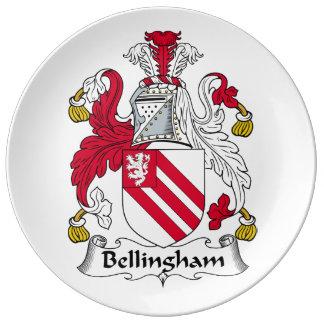 Escudo de la familia de Bellingham Plato De Cerámica