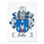 Escudo de la familia de Bellini Invitación 12,7 X 17,8 Cm