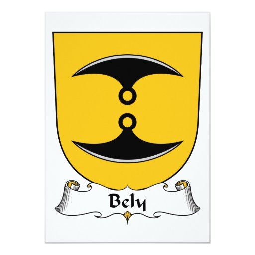 Escudo de la familia de Bely Invitación 12,7 X 17,8 Cm