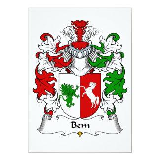 """Escudo de la familia de Bem Invitación 5"""" X 7"""""""