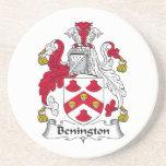 Escudo de la familia de Benington Posavasos Personalizados