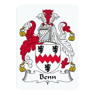 """Escudo de la familia de Benn Invitación 5"""" X 7"""""""