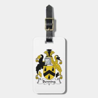 Escudo de la familia de Benning Etiquetas Para Maletas