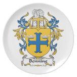 Escudo de la familia de Benning Platos De Comidas