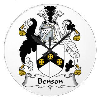 Escudo de la familia de Benson Reloj Redondo Grande