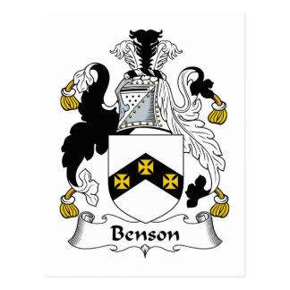 Escudo de la familia de Benson Tarjetas Postales