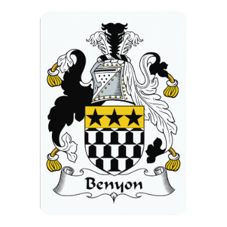 """Escudo de la familia de Benyon Invitación 5"""" X 7"""""""