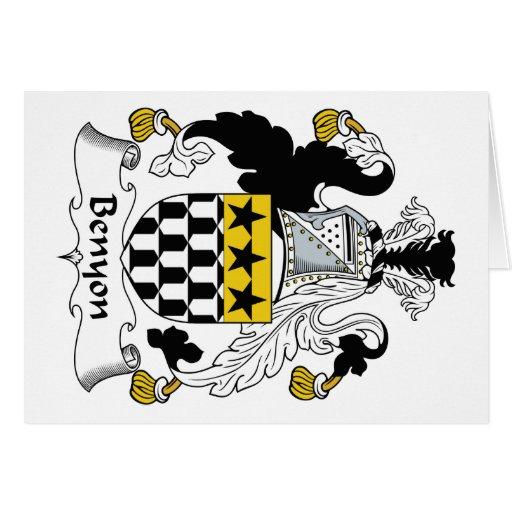 Escudo de la familia de Benyon Tarjeta De Felicitación