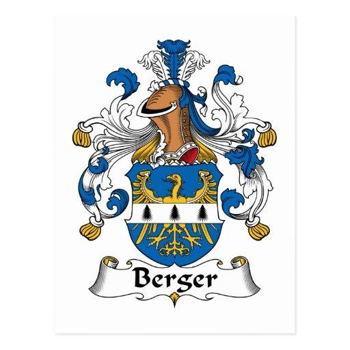 Escudo de la familia de Berger Tarjeta Postal
