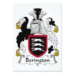 Escudo de la familia de Berington Invitación 12,7 X 17,8 Cm