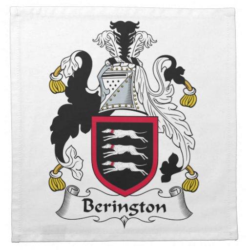 Escudo de la familia de Berington Servilleta De Papel