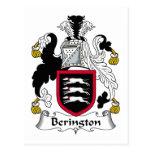 Escudo de la familia de Berington Tarjeta Postal