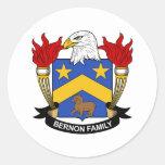 Escudo de la familia de Bernon Pegatina Redonda